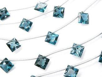 天然石卸 1連7,980円!宝石質ロンドンブルートパーズAAA ダイヤ プリンセス ファセットカット8×8mm 1連(10粒)