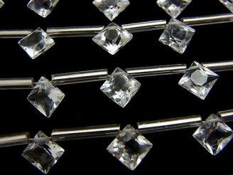 天然石卸 1連1,280円!宝石質クリスタルAAA ダイヤ プリンセスカット8×8mm 1連(10粒)