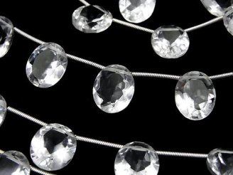 天然石卸 宝石質クリスタルAAA オーバルファセットカット12×10×6mm 半連/1連(10粒)