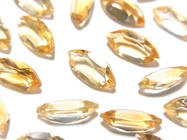 宝石質シトリンAAA 穴なしマーキスファセットカット12×6mm 5粒