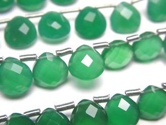 天然石卸 宝石質グリーンオニキスAAA マロン ブリオレットカット8×8×4mm 半連/1連(約15cm)