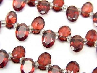 天然石卸 宝石質ガーネットAAA オーバルファセットカット7×5×3mm 半連/1連(30粒)