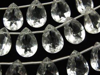 天然石卸 宝石質クリスタルAAA ペアシェイプファセットカット14×10mm 半連/1連(8粒)