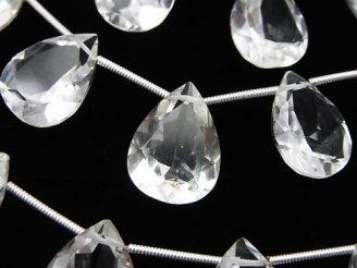 天然石卸 宝石質クリスタルAAA ペアシェイプファセットカット16×12×7mm 半連/1連(10粒)