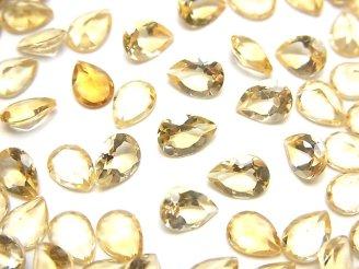 天然石卸 宝石質シトリンAAA 穴なしペアシェイプファセットカット7×5mm 10粒680円!