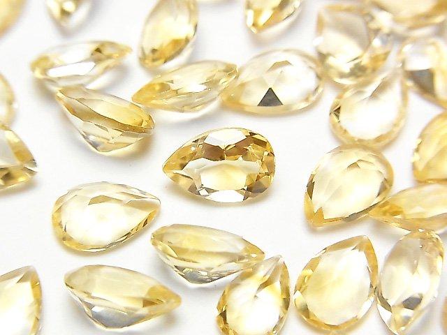 【動画】宝石質シトリンAAA 穴なしペアシェイプファセットカット9×6mm 5粒