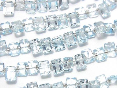 宝石質スカイブルートパーズAAA レクタングルファセットカット7×5×3mm 半連/1連(約13cm)