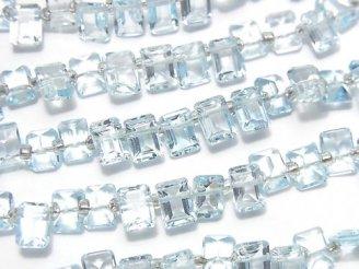天然石卸 宝石質スカイブルートパーズAAA レクタングルファセットカット7×5×3mm 半連/1連(約13cm)