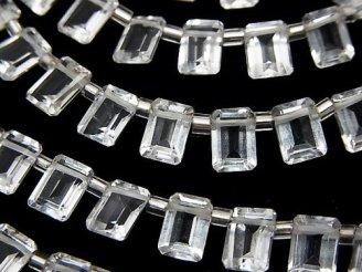 天然石卸 宝石質ホワイトトパーズAAA レクタングルファセットカット7×5×3mm 半連/1連(約14cm)