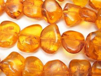天然石卸 バルティックアンバー(琥珀) フラットタンブル 1/4連〜1連(約38cm)