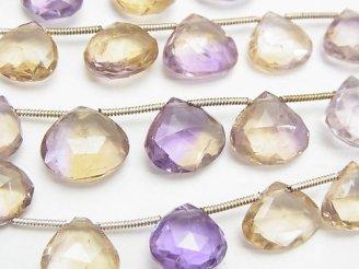天然石卸 宝石質アメトリンAA++ マロン ブリオレットカット 半連/1連(約20cm)