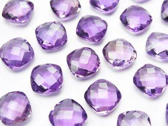 天然石卸 宝石質ピンクアメジストAAA 穴なしスクエアクッションカット9×9×4mm 4粒980円!