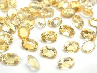 天然石卸 宝石質シトリンAAA 穴なしオーバルファセットカット7×5×3mm 10粒880円!