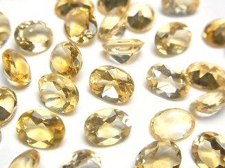 天然石卸 宝石質シトリンAAA 穴なしオーバルファセットカット9×7×4mm 3粒480円!