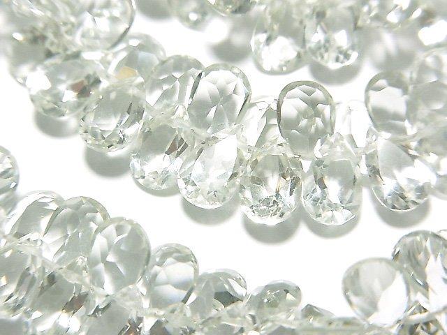 宝石質グリーンアメジストAAA ペアシェイプ ファセットカット8×5×3mm 1/4連〜1連(約16cm)