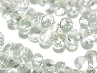 天然石卸 宝石質グリーンアメジストAAA ペアシェイプ ファセットカット8×5×3mm 1/4連〜1連(約16cm)