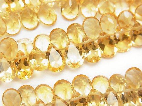 宝石質シトリンAAA ペアシェイプ ファセットカット8×5×3mm 1/4連〜1連(約16cm)
