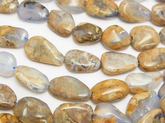 天然石卸 1連780円!ブルーカルセドニーAA 母岩付フラットタンブル 1連(約37cm)
