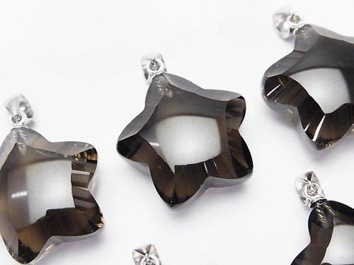 【素晴らしい輝き】宝石質スモーキークォーツAAA スター型ペンダントトップ20×20×11mm SV925製