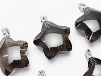 天然石卸 素晴らしい輝き!宝石質スモーキークォーツAAA スター型ペンダントトップ20×20×11mm SV925製