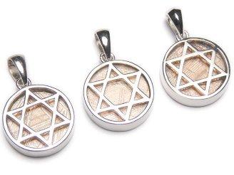 天然石卸 メテオライト(ムオニナルスタ隕石) 六芒星コイン型ペンダントトップ14mm ピンクゴールド Silver925製