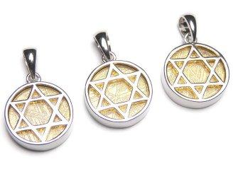 天然石卸 メテオライト(ムオニナルスタ隕石) 六芒星コイン型ペンダントトップ14mm ゴールド Silver925製