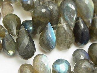 天然石卸 宝石質ラブラドライトAAA- 大粒ドロップ ブリオレットカット サイズグラデーション 半連/1連(約18cm)