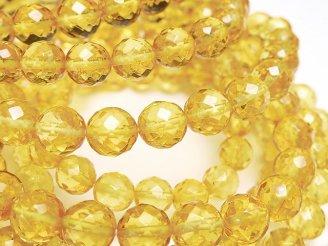天然石卸 バルティックアンバー(琥珀) 64面ラウンドカット 【S】【M】 イエローカラー 1連(ブレス)
