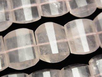 天然石卸 マダガスカル産ローズクォーツAA++ 横長レクタングルカット18×14×7mm 半連/1連(約38cm)