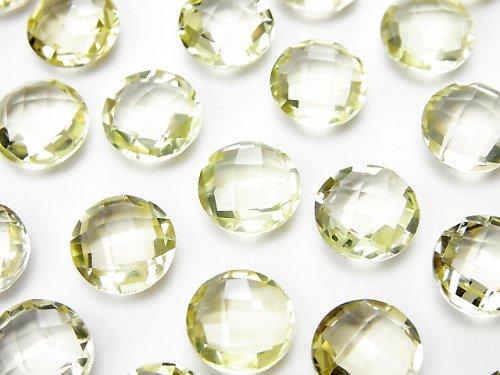 宝石質レモンクォーツAAA 穴なしコインクッションカット10×10mm 5粒