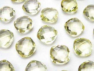 天然石卸 宝石質レモンクォーツAAA 穴なしスクエアクッションカット10×10mm 5粒1,280円!