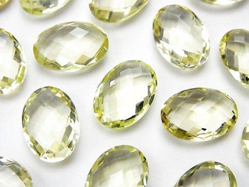 宝石質レモンクォーツAAA 穴なしオーバルクッションカット14×10mm 5粒1,780円!