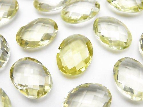 宝石質レモンクォーツAAA 穴なしオーバルクッションカット16×12mm 4粒1,980円!