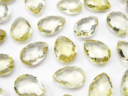宝石質レモンクォーツAAA 穴なしペアシェイプクッションカット14×10mm 5粒