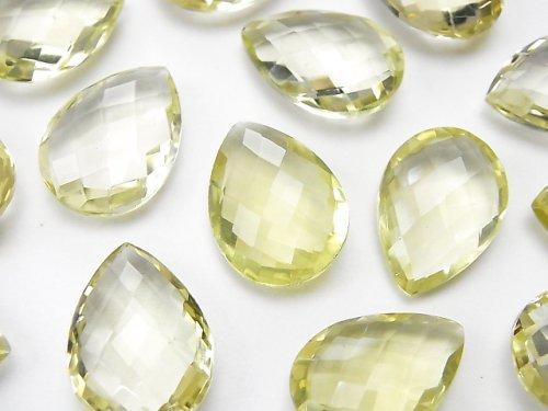 宝石質レモンクォーツAAA 穴なしペアシェイプクッションカット18×13mm 4粒2,480円!