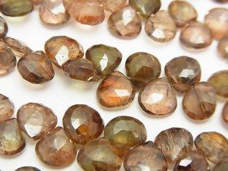 天然石卸 宝石質アンダルサイトAAA- マロン ブリオレットカット 半連/1連(約20cm)