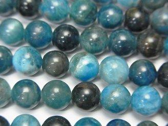 天然石卸 マダガスカル産ブルーアパタイトAA- ラウンド6mm 半連/1連(約38cm)