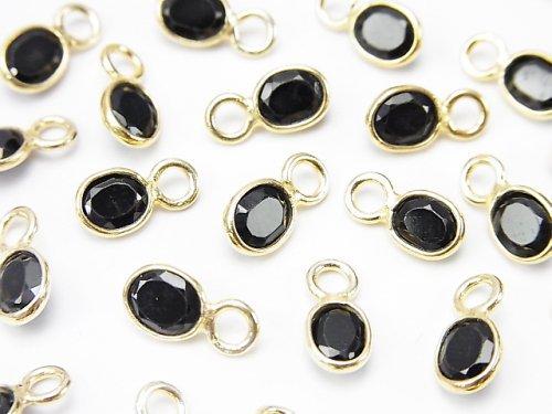 宝石質ブラックスピネルAA++ 枠留めオーバルファセットカット5×4mm 【片カン】 18KGP 10個