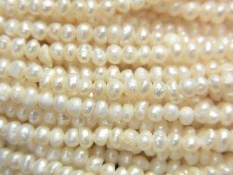 天然石卸 1連580円!極小淡水真珠ケシパールAA ポテト〜ロンデル2.5〜3mm ホワイト 1連(約37cm)