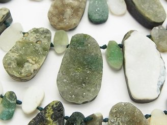 天然石卸 オーシャンジャスパー ドゥルージー(ラフ)タンブル クレオ穴 1連(約38cm)
