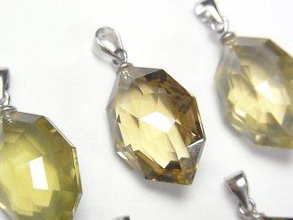 天然石卸 1個1,580円〜!宝石質レモンクォーツAAA 多面カット入りペンダントトップ SV925製 NO.2
