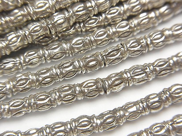 カレンシルバー 飾りロンデル4×3×3mm いぶし銀 1/8連〜1連(約74cm)