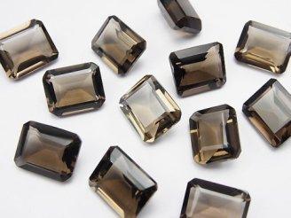 天然石卸 宝石質スモーキークォーツAAA 穴なしレクタングルファセットカット11×9mm 6粒1,580円!