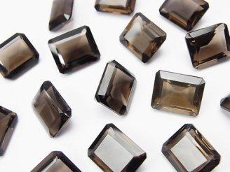天然石卸 宝石質スモーキークォーツAAA 穴なしレクタングルファセットカット12×10mm 5粒1,680円!