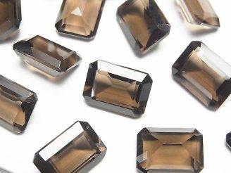 宝石質スモーキークォーツAAA 穴なしレクタングルファセットカット14×10mm 5粒