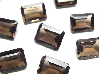宝石質スモーキークォーツAAA 穴なしレクタングルファセットカット16×12mm 4粒