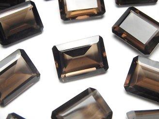 宝石質スモーキークォーツAAA 穴なしレクタングルファセットカット18×13mm 4粒