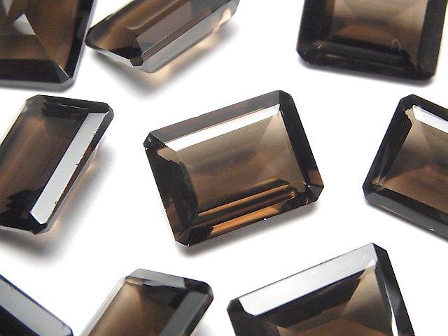 宝石質スモーキークォーツAAA 穴なしレクタングルファセットカット20×15mm 3粒