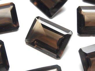 宝石質スモーキークォーツAAA 穴なしレクタングルファセットカット22×16mm 2粒