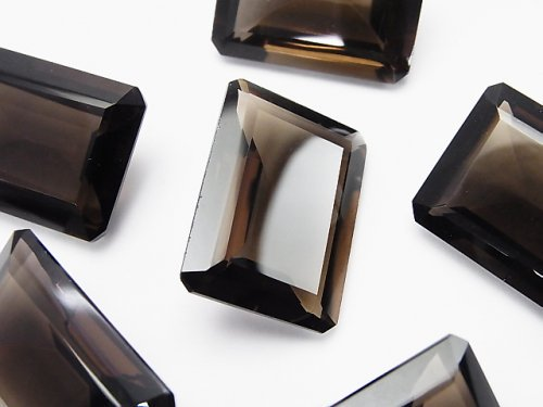 宝石質スモーキークォーツAAA 穴なしレクタングルファセットカット25×18mm 2粒
